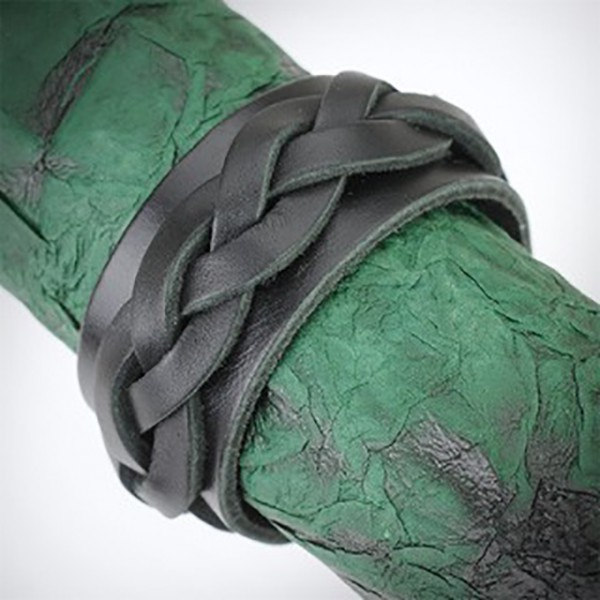 Dicke geflochtene Bänder Lederarmband Armband Schwarz