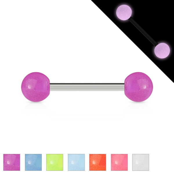 Glow in the Dark Zungenpiercing Kugel Hantel Stab Chirurgenstahl Acryl