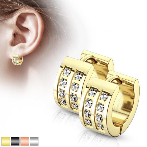 ein Paar Creolen Ohrringe mit 8 Kristallen aus rostfreiem Stahl