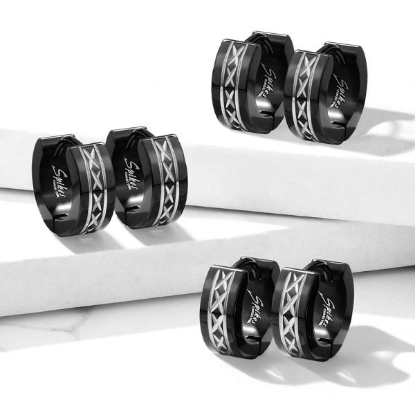 ein Paar schwarze Creolen Ohrringe, 316L rostfreier Stahl, schwarzer aufklappbarer Verschluss