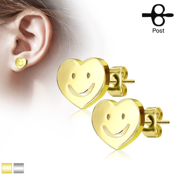 Smiley Ohrstecker 316L Chirurgenstahl gold