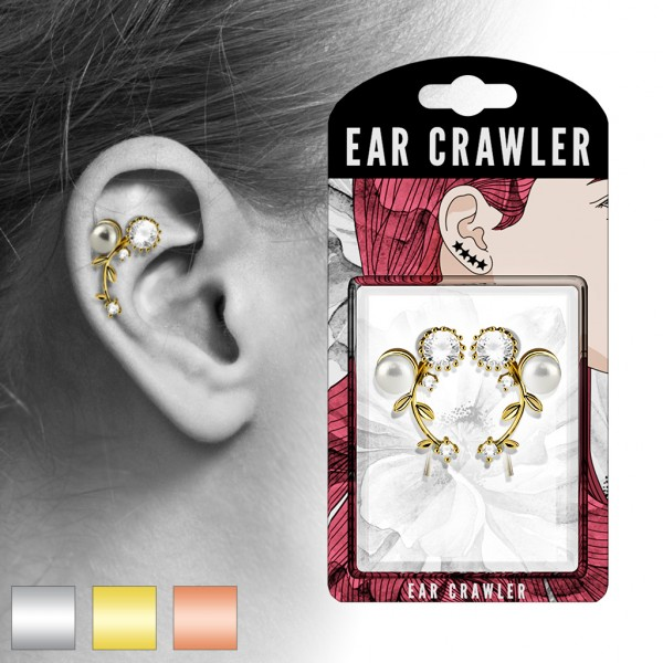 Paar Ear Cralwer Kristall Perle
