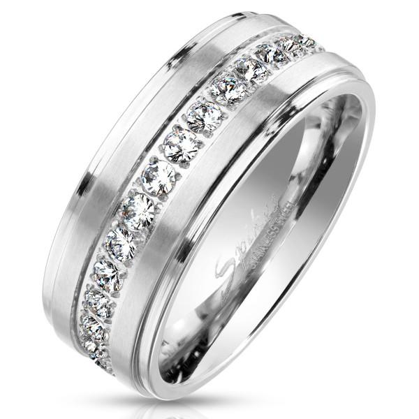Ring Abgestufte Kanten Kristallbesetzt Edelstahl Ewigkeitsring