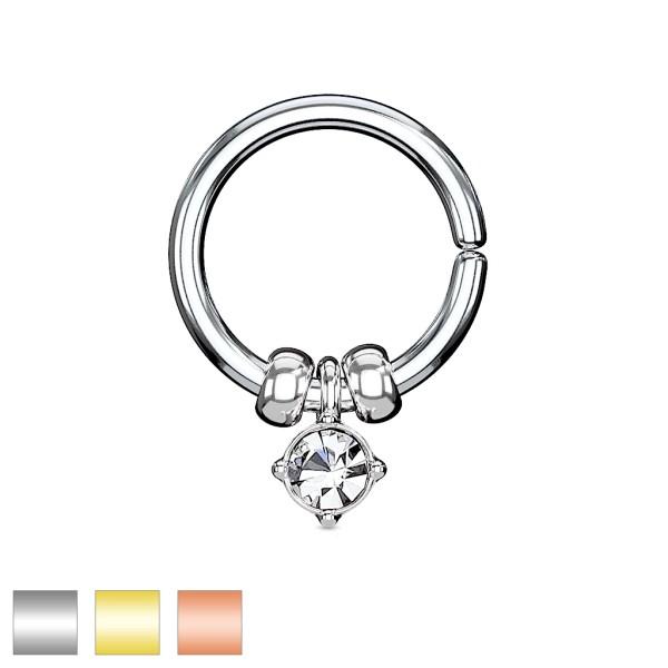 Kristall Perlen Hänger Piercing Ring Biegbar