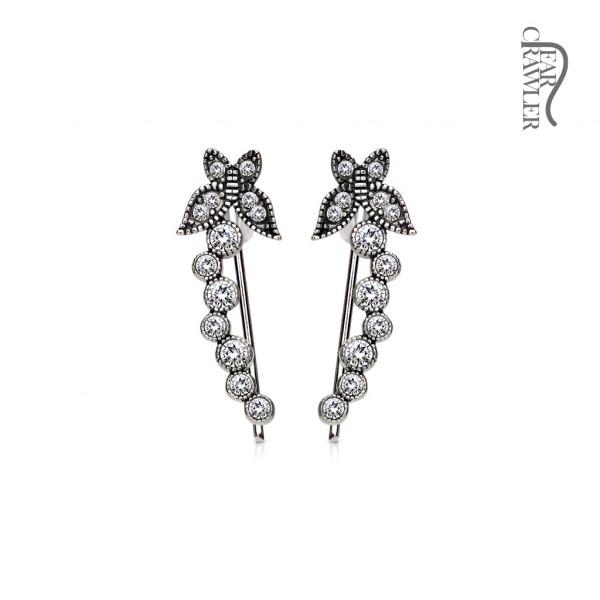 Paar Ear Cralwer Kristall Schmetterling