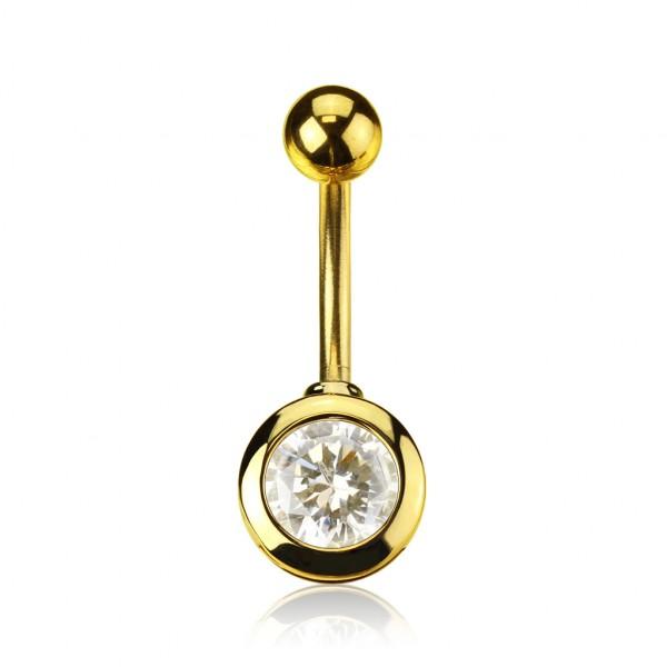 7mm Zirkonia Bauchnabelpiercing Gold plattiert