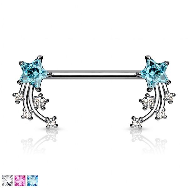 Nippelpiercing mit Sternschnuppen aus Kristallen an beiden Enden Hantel Barbell