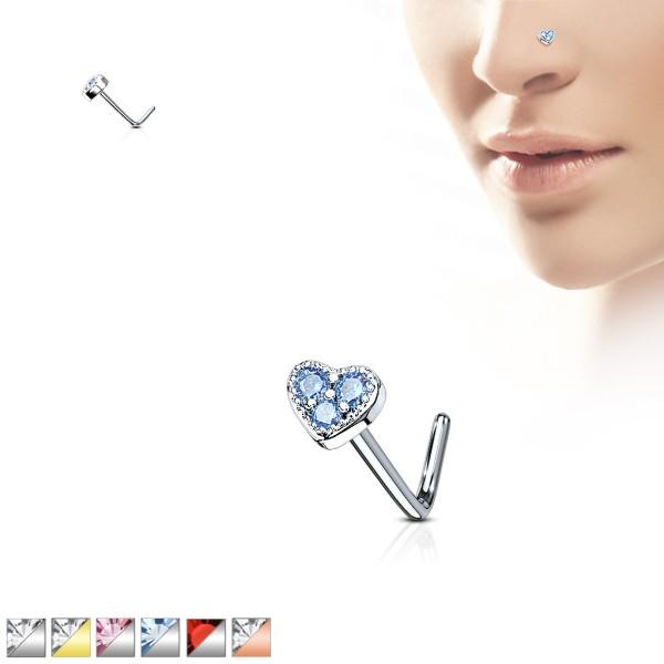 Herz Nasenpiercing Nasenring L-Form 316L Stahl