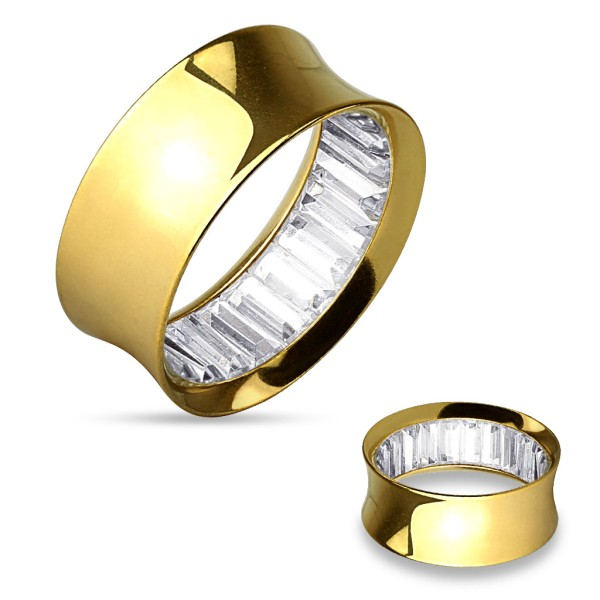 Zirkonia quadratisch Flesh Tunnel gold