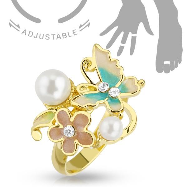 Ring Blume Perlen Größe verstellbar Gold Handring/Fußring