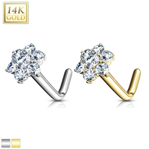 Blume Kristall Nasenpiercing 585 Echtgold 14 Karat L-Form