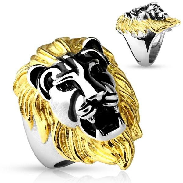 Ring Löwe gold 316L Chirurgenstahl