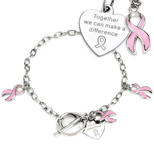 Pink Streifen Krebs Bewusstsein Anhänger auf Kette Edelstahl Armband