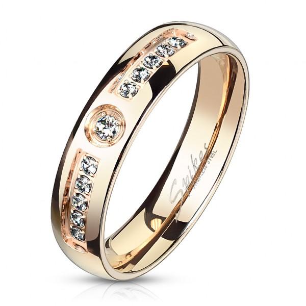 Ring 11 Kristalle, Rosegold, Edelstahl