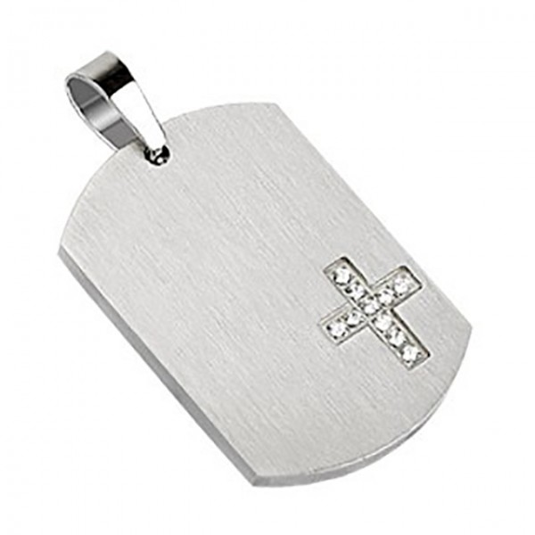 Hundemarke Silber Diamanten Kreuz Anhänger 316L Stahl