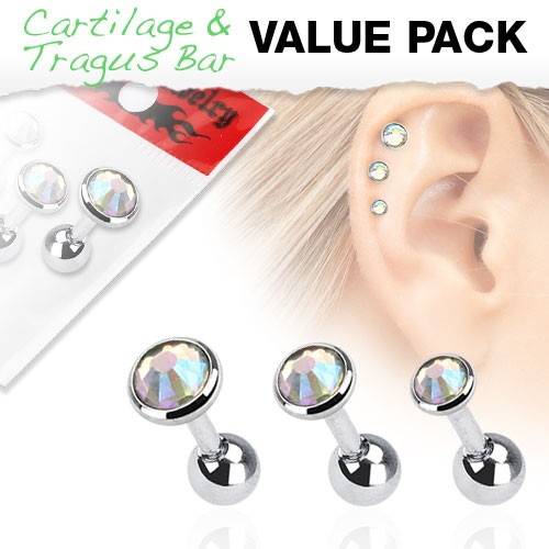 Opal Cartilage Tragus Piercing 3er Pack