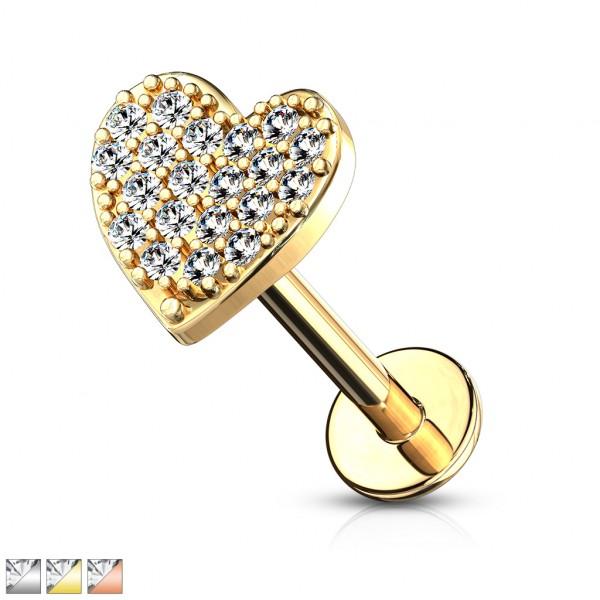 Kristall verziertes gebogenes Herz Innengewinde Monroe Ohrpiercing flach