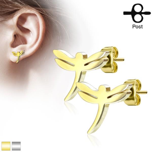 Libelle Ohrstecker 316L Chirurgenstahl gold