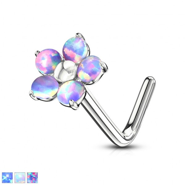 Blume mit 5 Opal Blüten Nasenpiercing