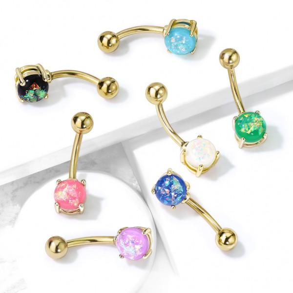Opal in Krappenfassung Bauchnabelpiercing Gold