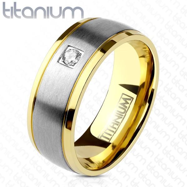 Ring Silber gebürstet gold Kristall Titan