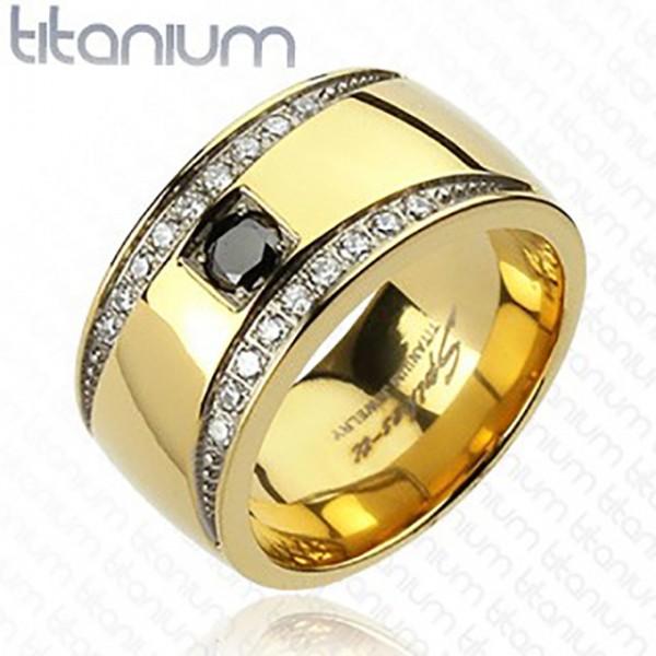 Ring Kristallbesetzt gold Titan