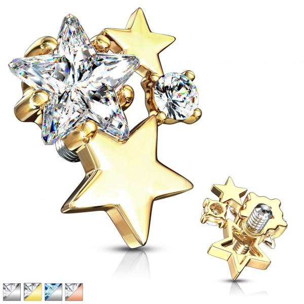Kristall Bündel Sterne Innengewinde Dermal Anchor Tops