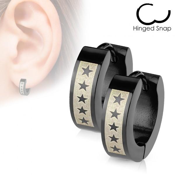 ein Paar Ring 316L Chirurgenstahl Schwarz Scharnier - Ohrring mit 5 Stern Motiv Druck