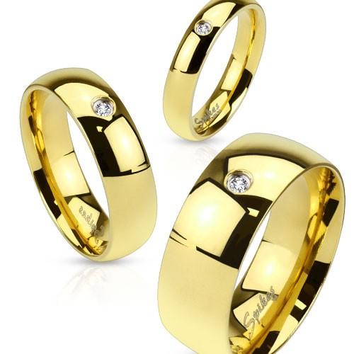 Ring Zirkonia Kristall Gold Edelstahl Ehering