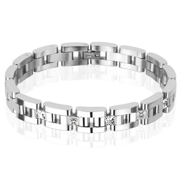 Fünf Quadrat Klar Zirkonia Kettenglied Kette Edelstahl Armband