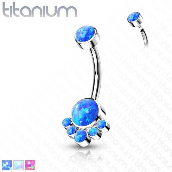 Opal Bauchnabelpiercing Titan 23G Internally Threaded Banane Curved Barbell