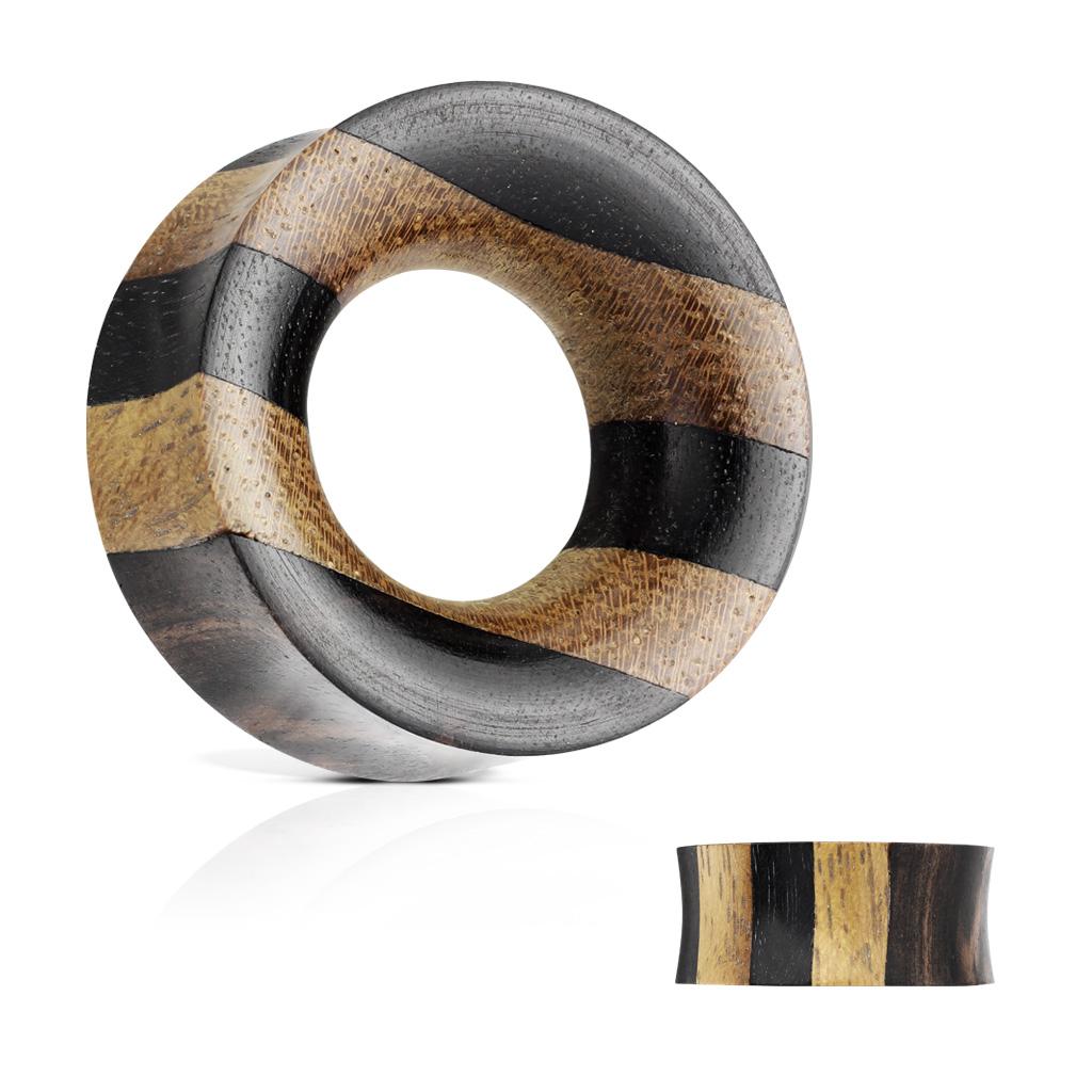 gestreifter flesh tunnel organic holz piercing xxl online shop. Black Bedroom Furniture Sets. Home Design Ideas