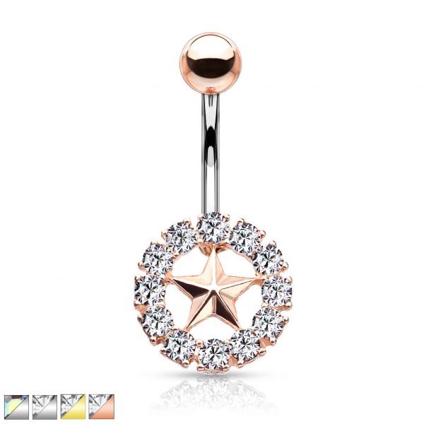 Stern mit Kristallumrundung Bauchnabelpiercing