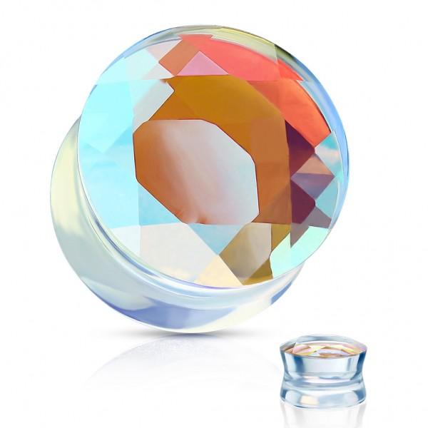 Glas Double Flare Plug Regenbogen Glass