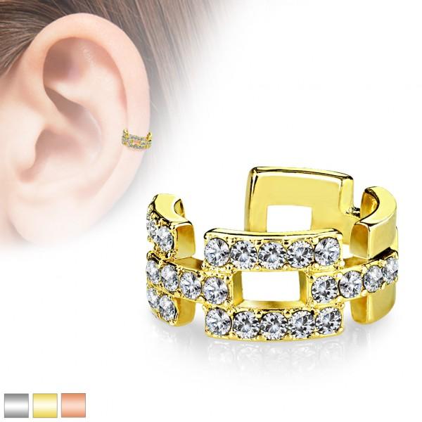 Zirkonia Helix Fake Piercing Ohr Cuff Gold Silber Rosegold