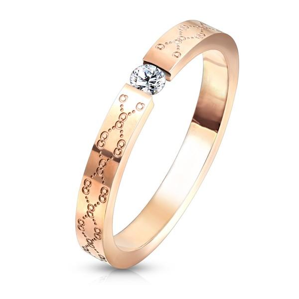 Ring Blumen filigran, Rosegold Kristall, Edelstahl