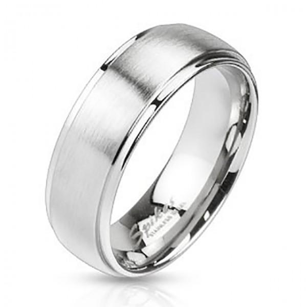 Ring poliert abgestufte Kanten Silber gebürstet zweitönig Edelstahl