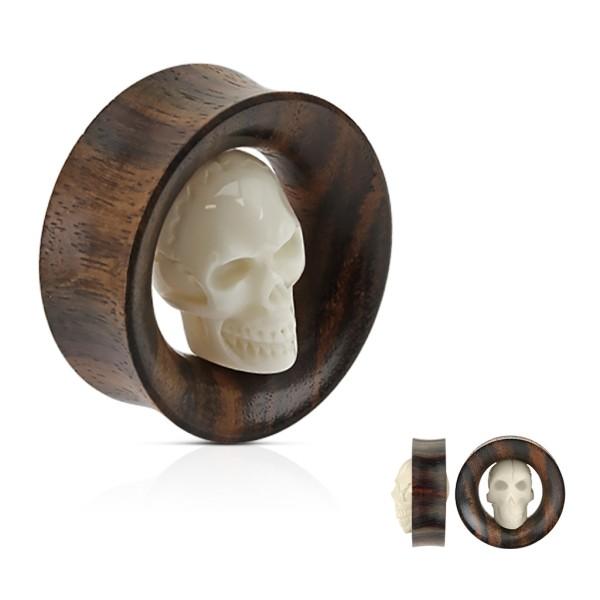 Totenkopf Flesh Tunnel Organic Holz