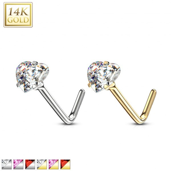 Herz Nasenpiercing Kristall mit Zinken 585 Echtgold 14 Karat L-Form
