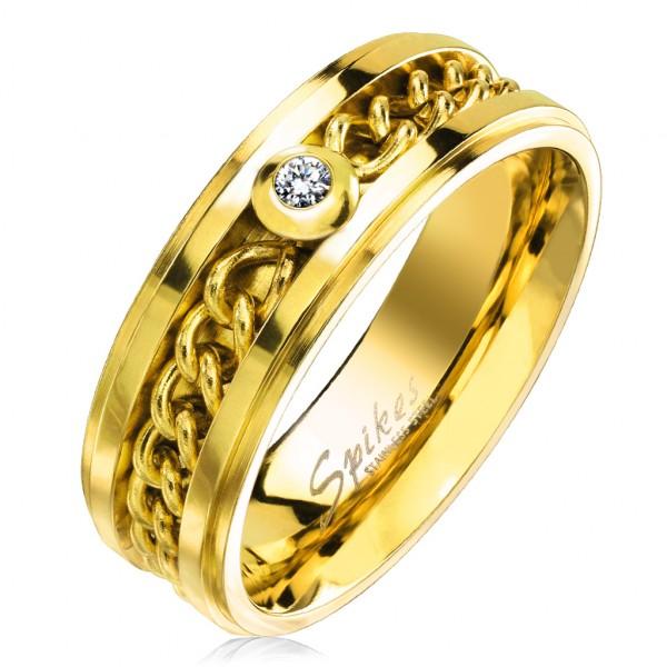 Ring gold Kette Kristall Edelstahl