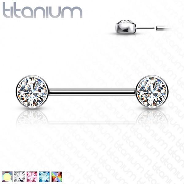 Titan Push in Nippelpiercing mit flachen Kristallen vorne Venom Piercing