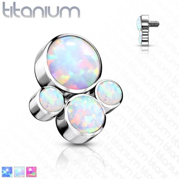 Opal Aufsatz für Piercing Internally Threaded Gewinde Top Ends Labret Dermal Barbell CBR Titan