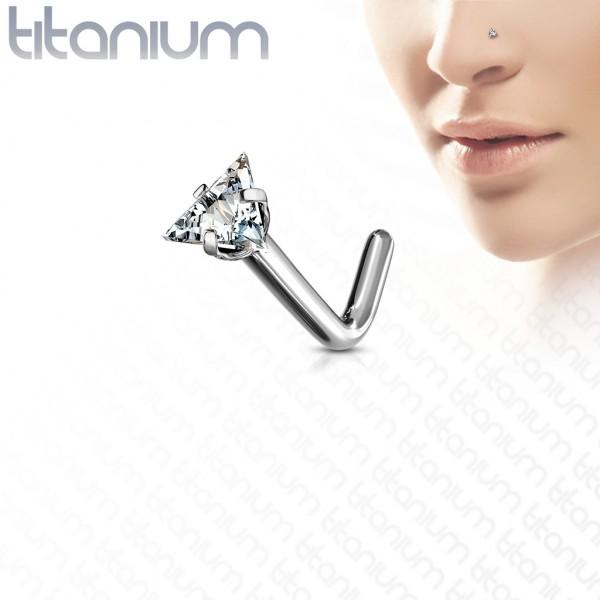 G23 Titan L geformter Nasenstecker mit Dreieck Kristall