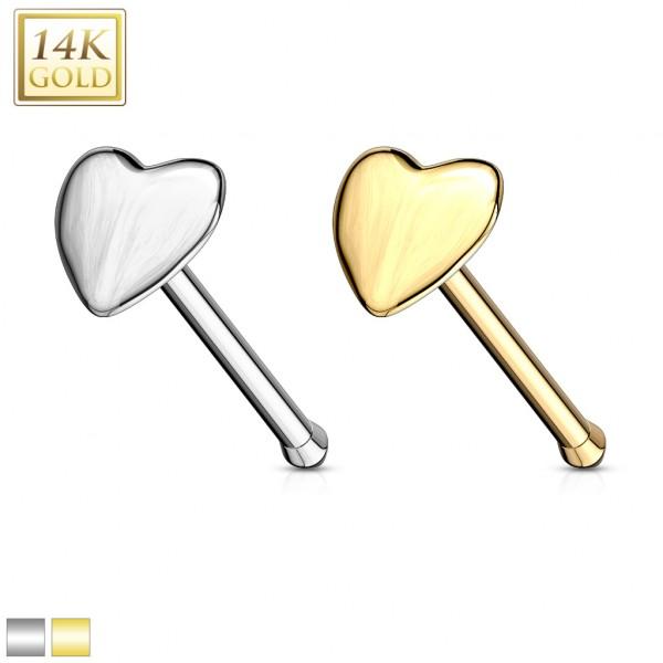 Herz Nasenpiercing 14 Karat Gelb Gold