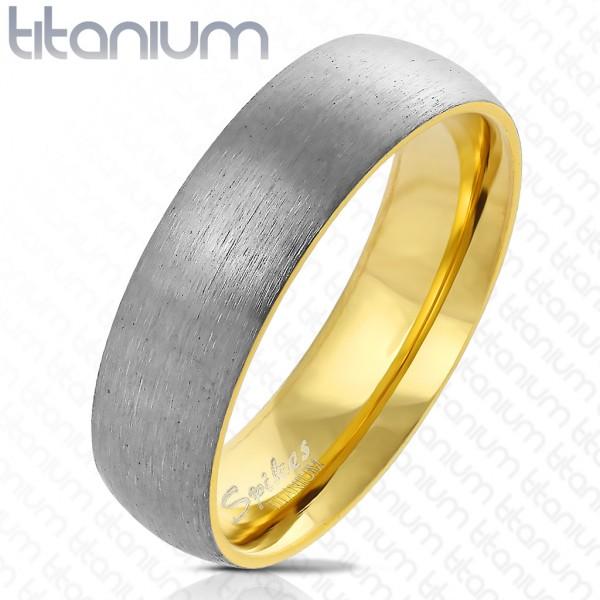 Ring zweitönig silber gebürstet gold Titan