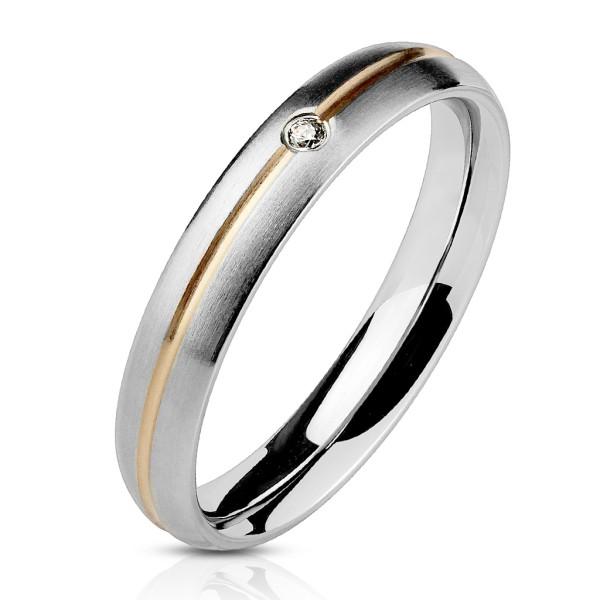 Ring Streifen Rosegold Zirkonia Edelstahl