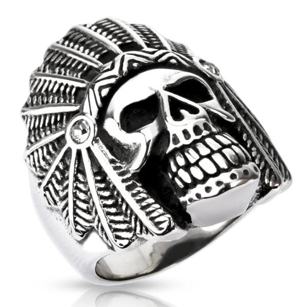 Ring Apache Totenkopf Edelstahl