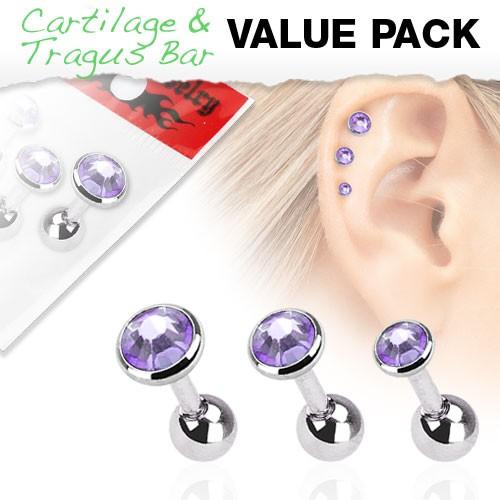 3er Pack Zirkonia Cartilage Tragus Piercing violett
