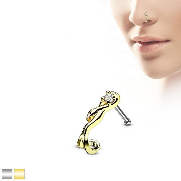 Schlange Zirkonia Nasenpiercing Nasenstecker Nasenring Stahl 316L