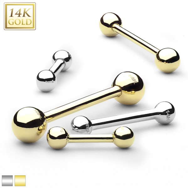 Hantel Nippelpiercing 14 Karat Gold